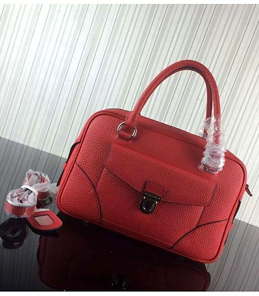 Prada Litchi Veins Cow Leather Tote Bags 1B006 Red