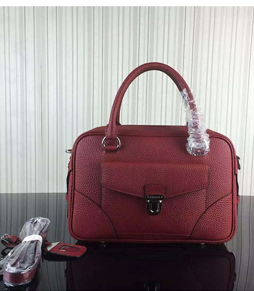 Prada Litchi Veins Cow Leather Tote Bags 1B006 Jujube Red