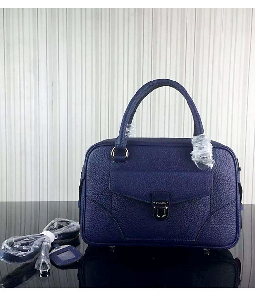 Prada Litchi Veins Cow Leather Tote Bags 1B006 Sapphire Blue