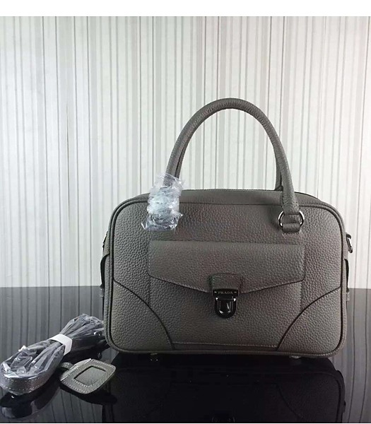 Prada Litchi Veins Cow Leather Tote Bags 1B006 Grey
