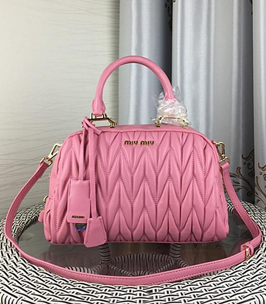 Miu Miu Matelasse Pink Leather Fashion Handle Bag 1015