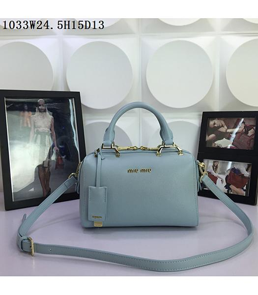Miu Miu Light Blue Calfskin Leather Leisure Tote bag 1033