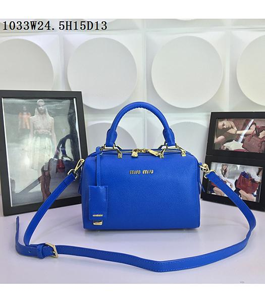 Miu Miu Blue Calfskin Leather Leisure Tote bag 1033