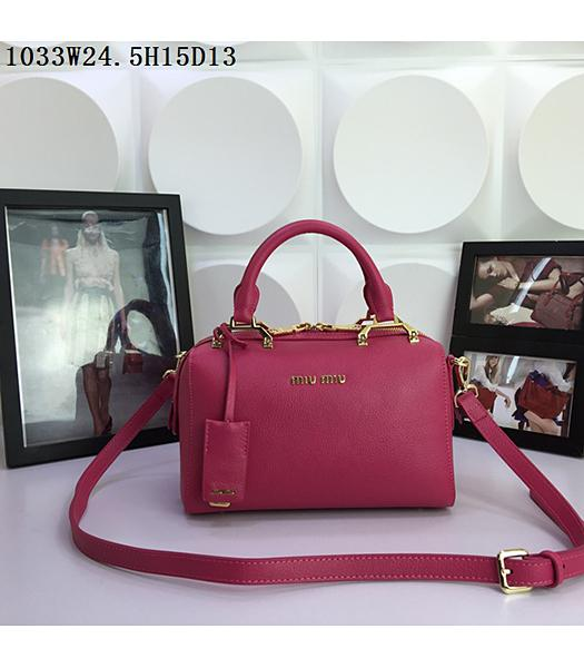 Miu Miu Rose Red Calfskin Leather Leisure Tote bag 1033