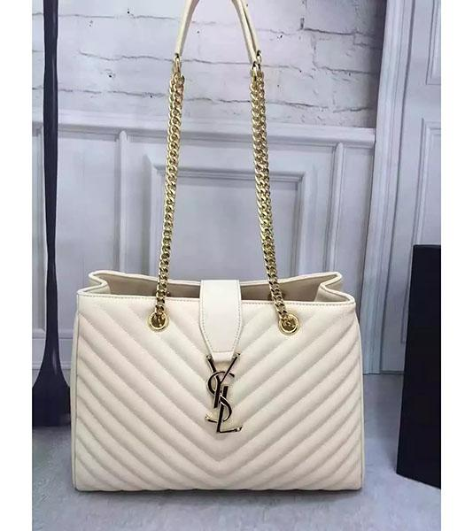 YSL Monogramme White Original Leather 36cm Chains Shoulder Bag