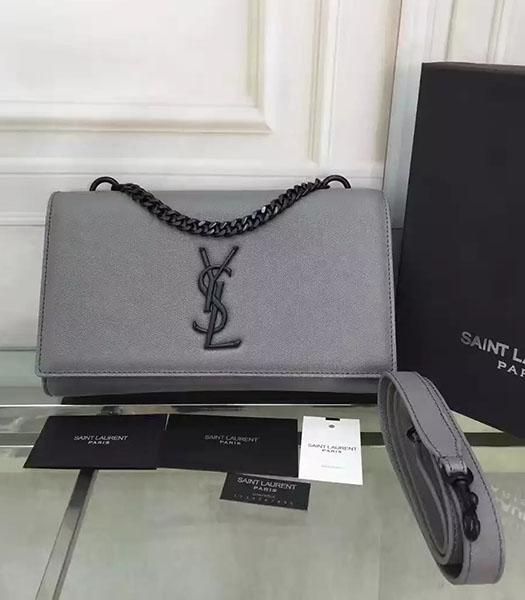 YSL Kate Monogram Grey Caviar Calfskin Leather Chains Bag