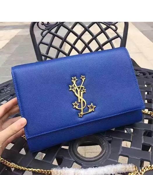 YSL Kate Monogram Blue Caviar Leather Stars Rivets Gourmette Bag With Interlayer