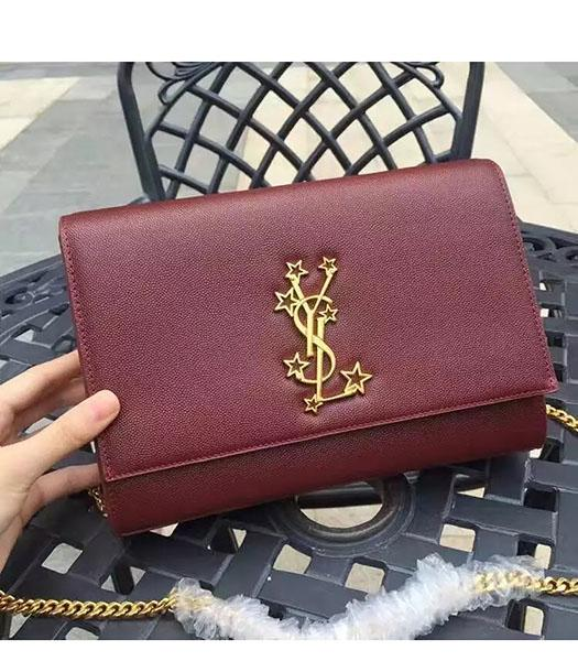 YSL Kate Monogram Jujube Red Caviar Leather Stars Rivets Gourmette Bag With Interlayer