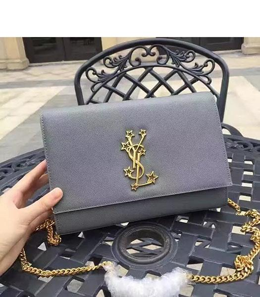 YSL Kate Monogram Light Blue Caviar Leather Stars Rivets Gourmette Bag With Interlayer