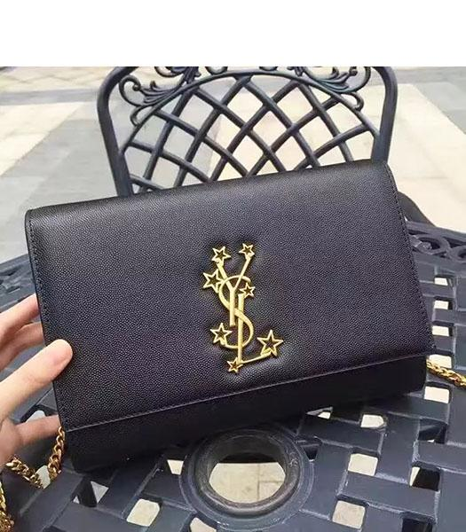 YSL Kate Monogram Black Caviar Leather Stars Rivets Gourmette Bag With Interlayer