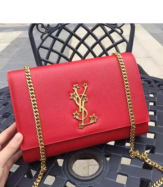 YSL Kate Monogram Red Caviar Leather Stars Rivets Gourmette Bag