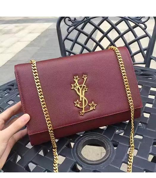 YSL Kate Monogram Jujube Red Caviar Leather Stars Rivets Gourmette Bag