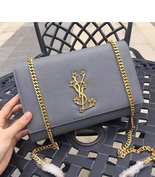 YSL Kate Monogram Light Blue Caviar Leather Stars Rivets Gourmette Bag