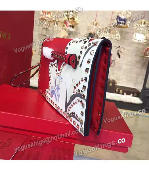 Valentino Rockstud Latest Red Leather Japan Flower Clutch-1