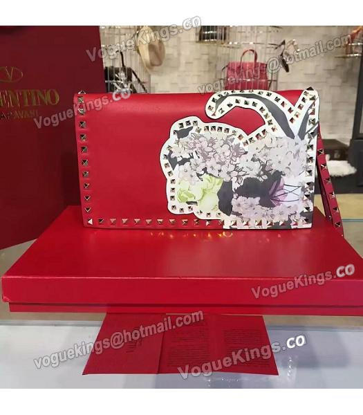 Valentino Rockstud Latest Red Leather Japan Flower Clutch-2