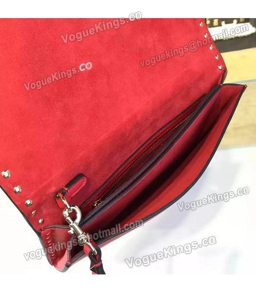 Valentino Rockstud Latest Red Leather Japan Flower Clutch-4