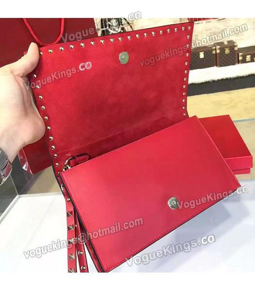 Valentino Rockstud Latest Red Leather Japan Flower Clutch-6
