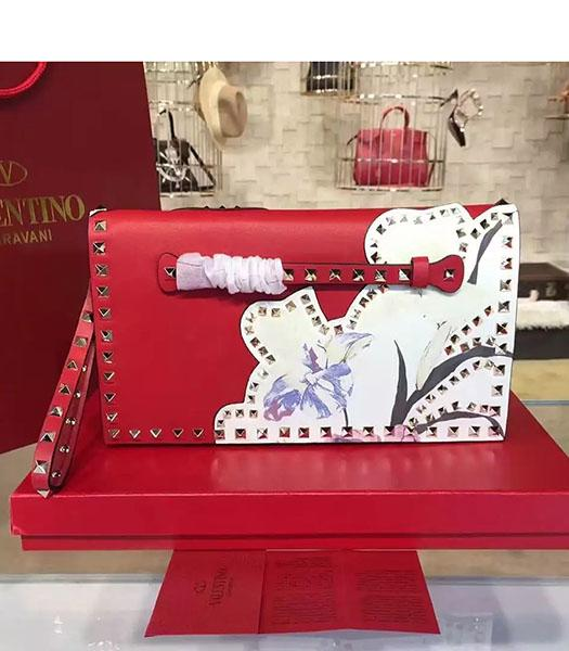 Valentino Rockstud Latest Red Leather Japan Flower Clutch
