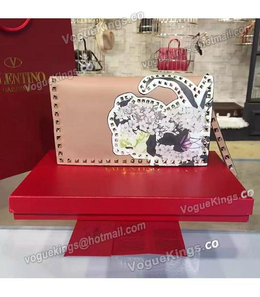 Valentino Rockstud Latest Nude Pink Leather Japan Flower Clutch-2