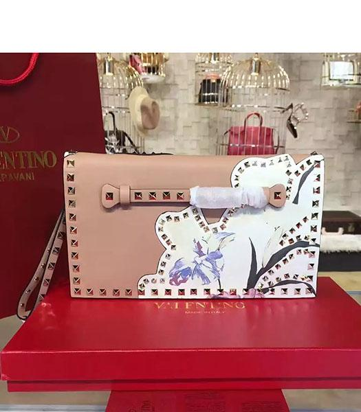 Valentino Rockstud Latest Nude Pink Leather Japan Flower Clutch