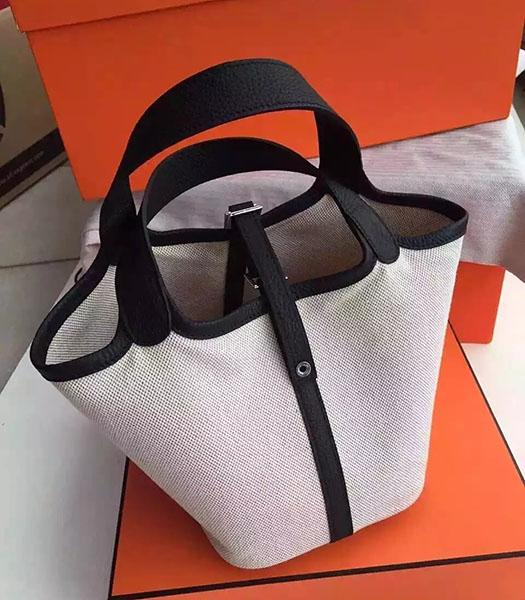Hermes Picotin Lock Fabric With Black Original Leather Small Bag
