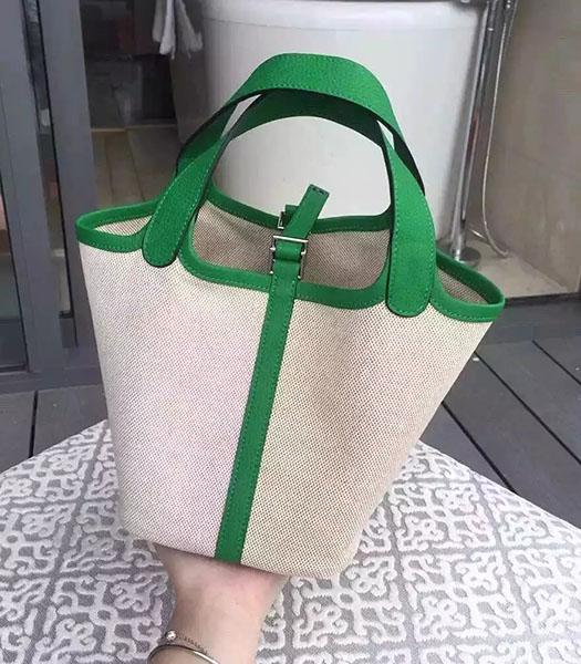 Hermes Picotin Lock Fabric With Green Original Leather Small Bag