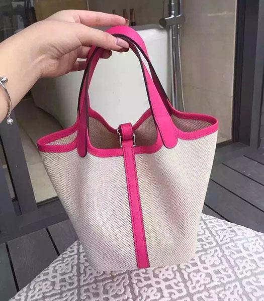 Hermes Picotin Lock Fabric With Fuchsia Original Leather Small Bag