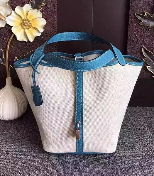 Hermes Picotin Lock Fabric With Blue Original Leather Small Bag