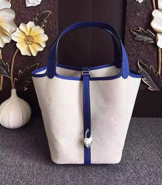 Hermes Picotin Lock Fabric With Sapphire Blue Original Leather Small Bag
