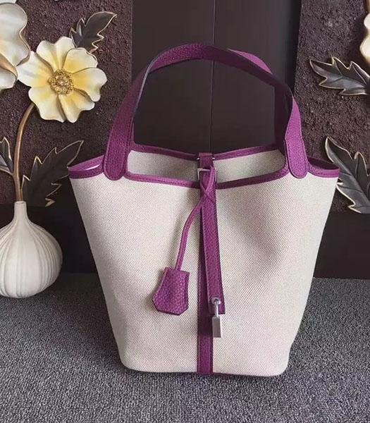 Hermes Picotin Lock Fabric With Purple Original Leather Small Bag