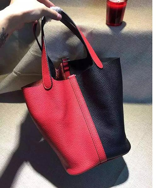 Hermes Picotin Lock Black&Red Leather Litchi Veins Small Shoulder Bag