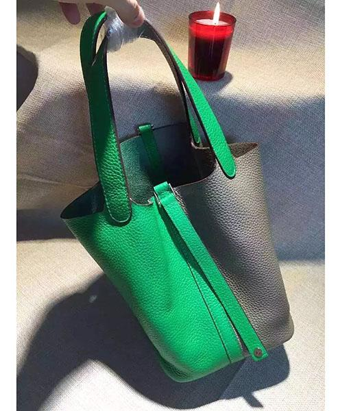 Hermes Picotin Lock Green&Grey Leather Litchi Veins Small Shoulder Bag