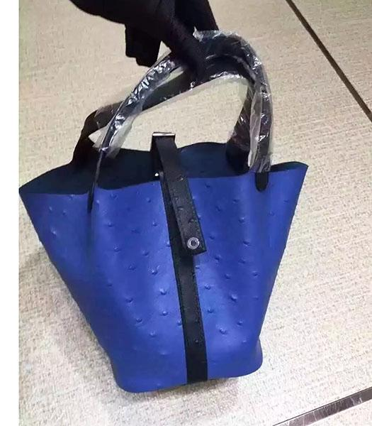 Hermes Picotin Lock Blue Leather Ostrich Grain Small Shoulder Bag