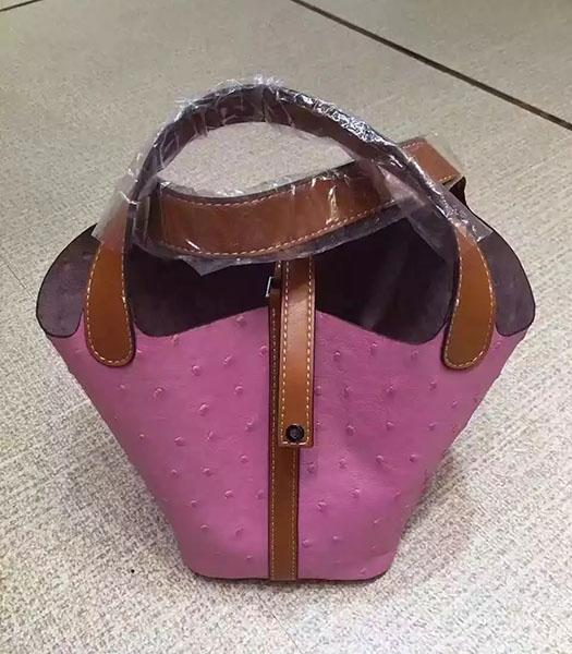 Hermes Picotin Lock Pink Leather Ostrich Grain Small Shoulder Bag