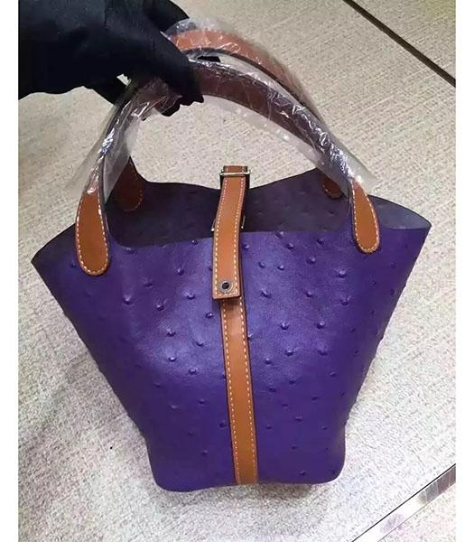 Hermes Picotin Lock Purple Leather Ostrich Grain Small Shoulder Bag