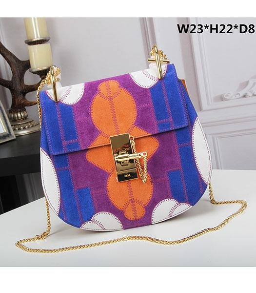 Chloe 23cm Geometry Blue&Orange Suede Leather Golden Chains Bag