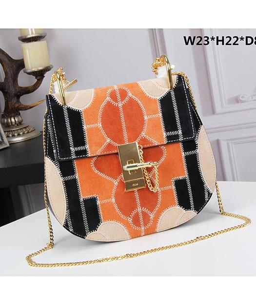 Chloe 23cm Geometry Black&Orange Suede Leather Golden Chains Bag