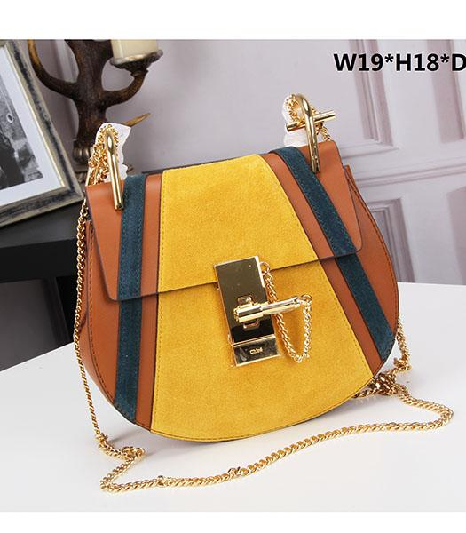 Chloe Drew Yellow Suede Leather Small Bags Golden Chain