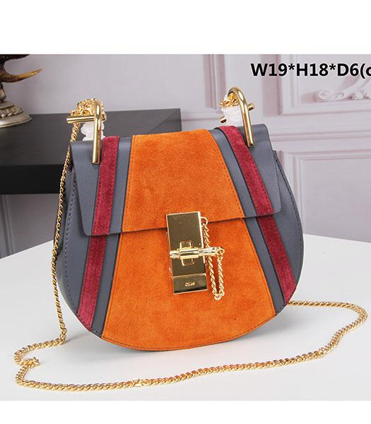 Chloe Drew Orange Suede Leather Small Bags Golden Chain