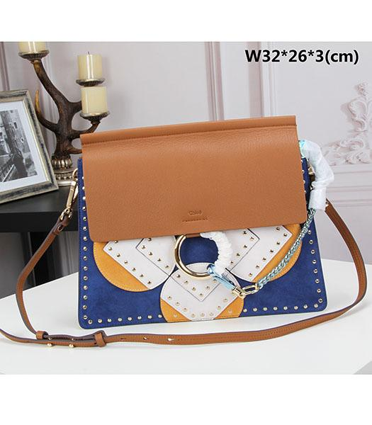 Chloe New Style Coffee Leather Rivets Decorative Shoulder Bag