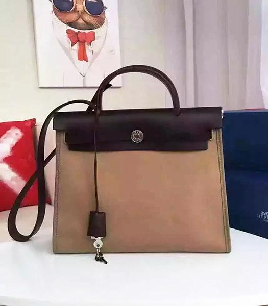 Hermes Kelly 32cm Khaki Fabric With Black Leather Bag