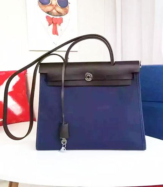 Hermes Kelly 32cm Dark Blue Fabric With Black Leather Bag