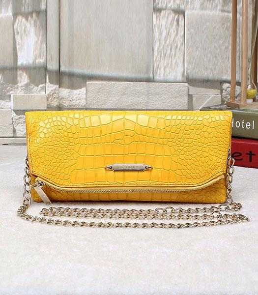 Burberry Croc Veins Calfskin Leather Chains Shoulder Bag Yellow