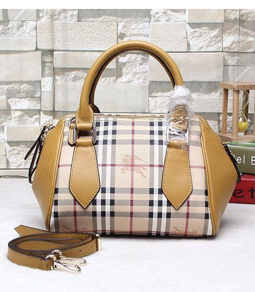 Burberry 28cm Check Canvas With Yellow Calfskin Leather Tote Bag