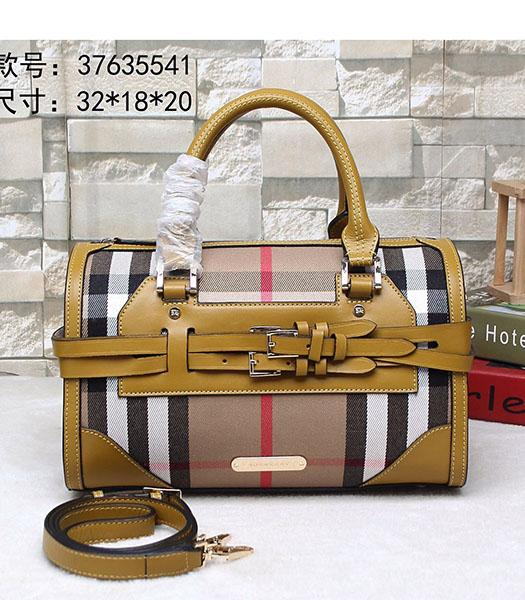 Burberry Check Canvas With Oil Wax Calfskin Leather Tote Bag Yellow