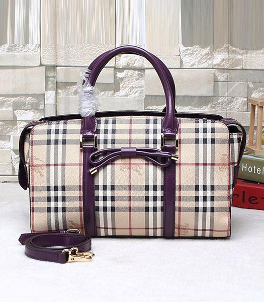 Burberry Check Canvas With Calfskin Leather Bow-knot Tote Bag Purple