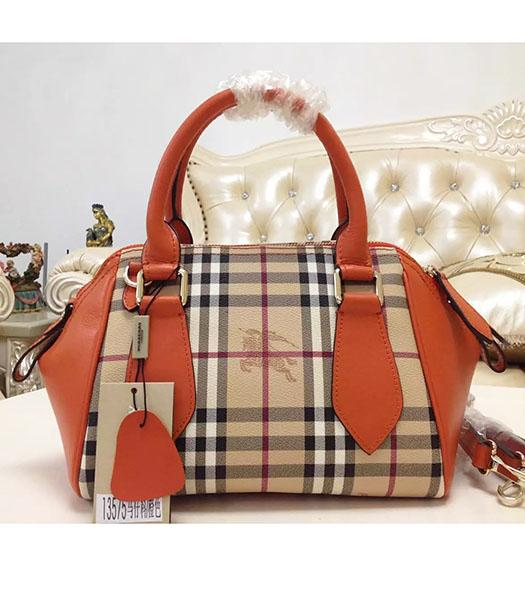 Burberry 28cm Check Canvas With Orange Calfskin Leather Tote Bag