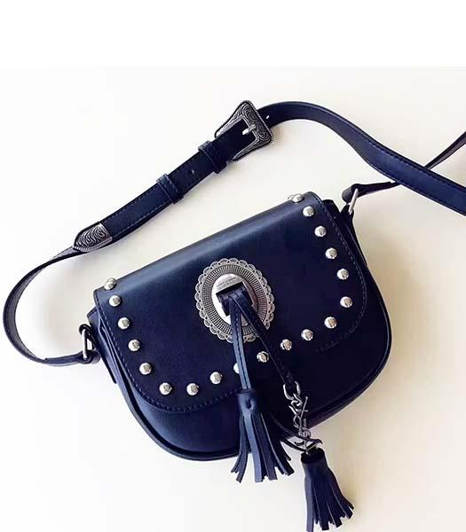 YSL Black Leather Rivets Fringed Small Shoulder Bag