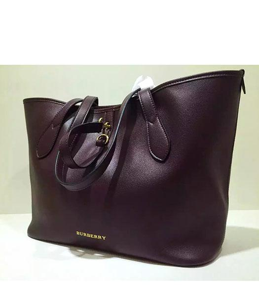 Burberry Original Calfskin Leather Large Tote Bag Wine Red