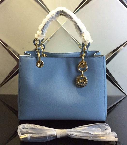 Michael Kors 24cm Light Blue Leather Small Tote Bag